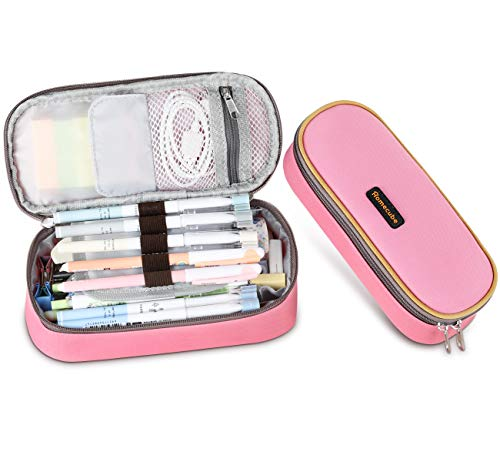 Homecube Pencil Case Big Capacity Oxford Pen Bag Waterproof Make-up Pencil Pouch Durable Stationery Bag Pen Holder for Women, Pink