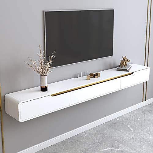 Wandplank Zwevende plank Tv-meubel voor wandmontage Set-top box Router Speelgoedfoto Trofee-projector Cd-dvds Opbergvak Tv-standaards Tv-console Hangende wandkast Met lade