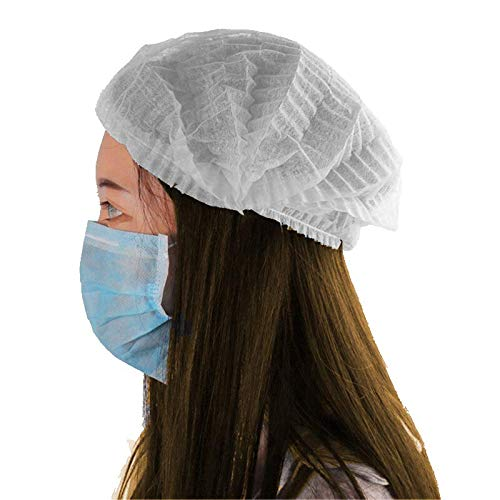 Kodenipr Club Disposable Cap Stretchable White Caps – Head Cover Hair For Cooking & Hygiene(100 Pieces)