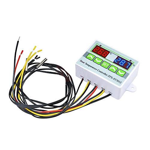 hgbygvuy ST3012 Digital LED Thermómetro Termómetro Termómetro Sensor Termostato Termostato Incubadora Control de Temperatura Microcomputador con sonda Doble AC 220V / 12V / 24V S (Color : 24V)