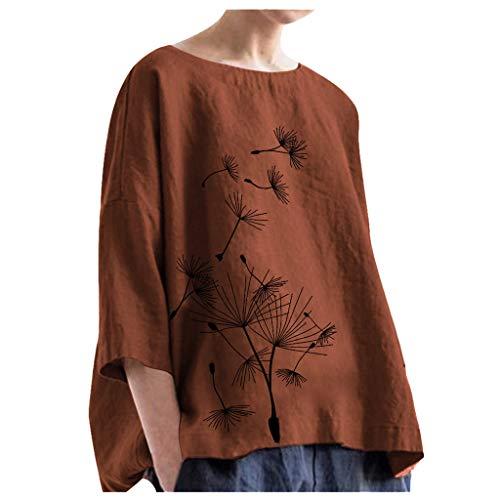 Honestyi Blouse Femme Grande Taille Tops en Coton Lin T-Shirt en Vrac Décontractée Pullover Manches Longues Col Rond Sweats Simple Pissenlit Imprimé Tee Shirt 2019 Nouveau Pullover Hauts