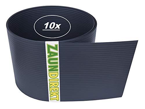 10 Stück Premium Hart PVC Sichtschutz-Streifen RAL 7016 Anthrazit Windschutz (1,35 mm) Blick-Schutz Zaun-Blende