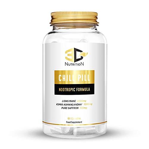 Chill Pill - Sleep & Relaxation Nootropic Supplement | 5-HTP | Lions Mane Mushroom | Ashwagandha | L-Theanine | 60 Capsules | Vegan, Non-GMO & Organic