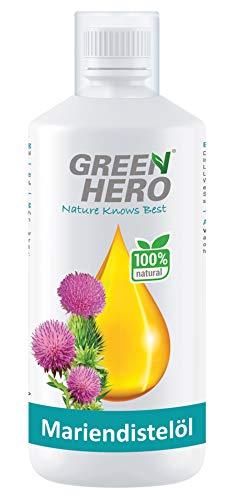 Green Hero Premium Mariendistelöl hochdosiert 1000 ml für Hunde und Pferde - Mariendistel-Öl reich an Omega-6 Fettsäuren, Vitamin E sowie Linolensäure - Barf Zusatz - Einzelfuttermittel