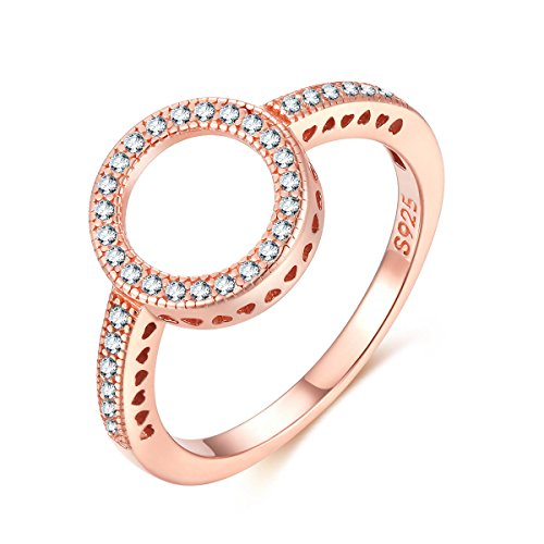 Qings Sterling Silver Ring Plated Rose Gold with CZ Open Circle for Women and Teen Girls (L 1/2)