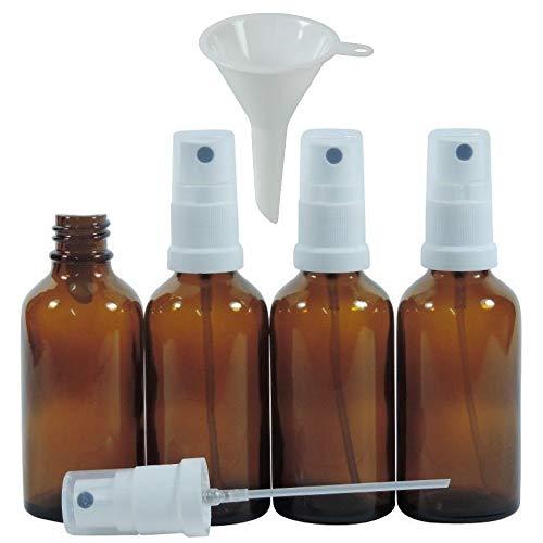 Viva Haushaltswaren - 4 x Apotheker-Sprühflasche 50 ml aus Braunglas, kleine Glasflaschen mit Zerstäubereffekt - Made in Germany & BPA frei (inkl. einem Trichter Ø 5 cm)
