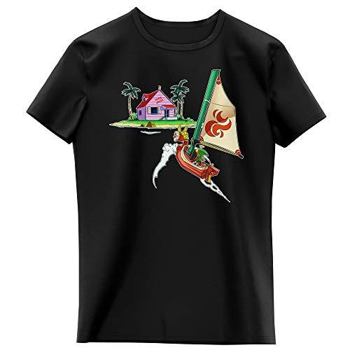 T-Shirt Enfant Fille Noir Parodie Dragon Ball Z - Zelda - Link et la Kame House - La découverte d'une Nouvelle île. (T-Shirt Enfant de qualité Premium de Taille 11-12 Ans - imprimé en France)