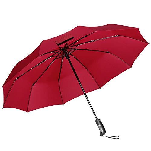 Regenschirm Automatic Regenschirm Und Regen Dual-Use-Werbegeschenk Dreifach Regenschirm @Korallenrot