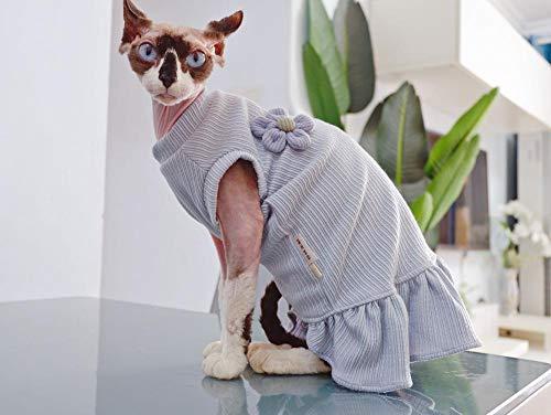 HCYD Light paarse zomer Sphinx kattenkleding, pet T-shirt, katoen, anti-off, S