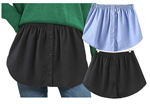 Longwu Women's Fake Hemline 2 Pieces Girls Adjustable Layered Fake Top Lower Sweep, Skirt Half - Length Splitting A Version Mini Skirt Shirt Extenders Black&Blue-2XL