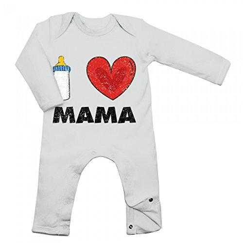 Shirt Happenz I Love Mama Babybody Baby Milch Neugeboren Langarm Langärmliger Strampler, Farbe:Weiß (White BZ13);Größe:3-6 Monate