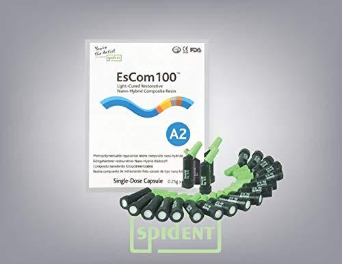 Spident Escom100 Capsules Shade A2- universal composite resin capsules, 0.25g x 20 caps