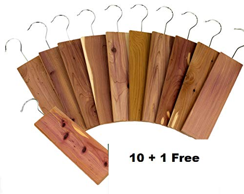 11 Pack Moth Protection Cedar Hang Up Closet Light Cedar Aroma Protection Large Size (9' x 2.6' x .4' Inches)