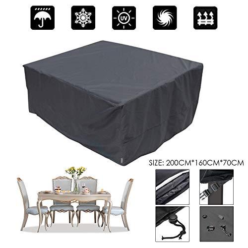 Housse Table de Jardin Bolerton, Bâche de Protection Couverture Étanche Anti-UV Antipoussière pour Salon Canapé Chaises Meuble à l'Extérieur Patio Terrasse, 200 x 160 x 70cm