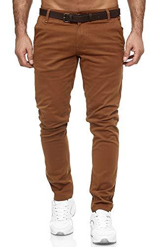 Elara Pantalon Chino Ceinture Homme Régulier Slim Fit Chunkyrayan MEL0151-Camel-31/30