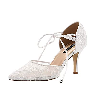 ERIJUNOR E2374 Ivory Lace Mesh Satin Bridal Wedding Shoes for Women Comfortable Mid Heel Tie Up Ankle Strap Pointy Toe Pumps Ivory Size 8
