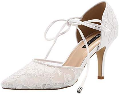 ERIJUNOR E2374 Ivory Lace Mesh Satin Bridal Wedding Shoes for Women Comfortable Mid Heel Tie product image
