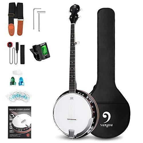 Vangoa Linkshänder 5 Saiten Banjo Remo Kopf Geschlossener Fester Rücken mit Anfänger-Kits