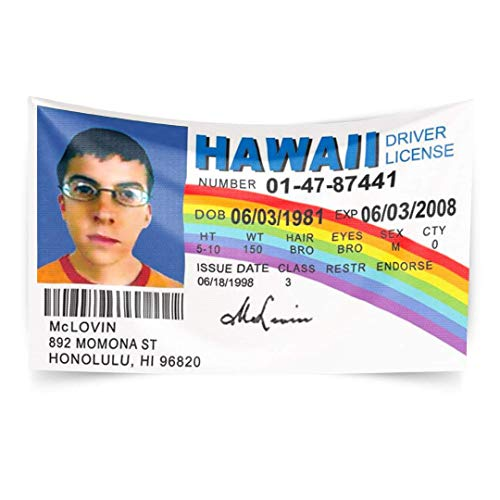 THELIB McLovin ID Driver License, 3x5 Feet for Dorm Room Decor, Polyester Cloth UV Resistant No Fading for College Fraternities Parties Indoor and Outdoor