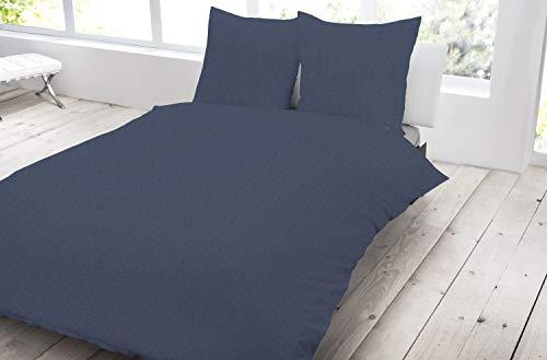 Dormisette 3 teilig Jersey Bettwäsche 200x200 cm Navy Marine blau meliert Melange Baumwolle