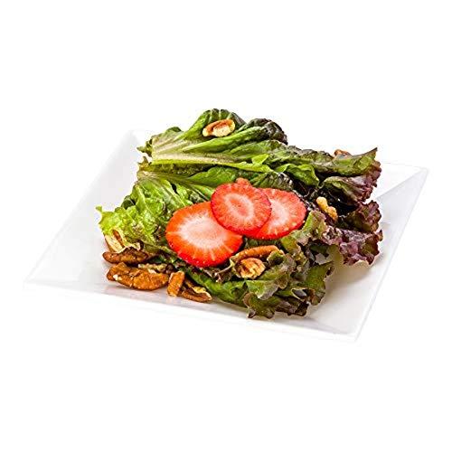 Voga 6 Inch Square Plates, 4 Small Salad Plates - Break-Resistant, Dishwasher-Safe, White Melamine Restaurant Plates, Serve Appetizers, Entrees, or Desserts, For Indoor or Outdoor Use