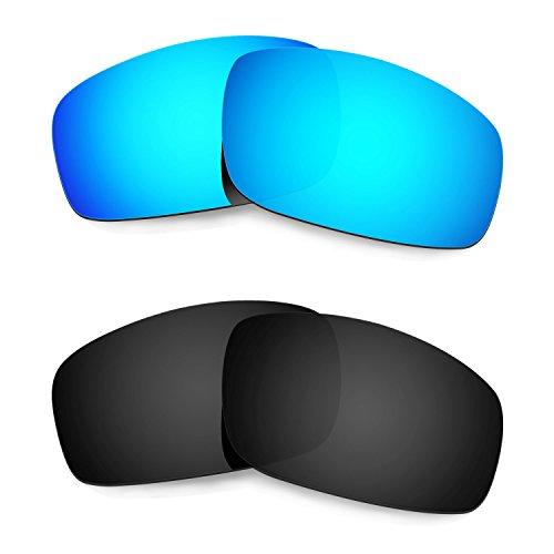 HKUCO Mens Replacement Lenses For Oakley Monster Pup Sunglasses Blue/Black Polarized