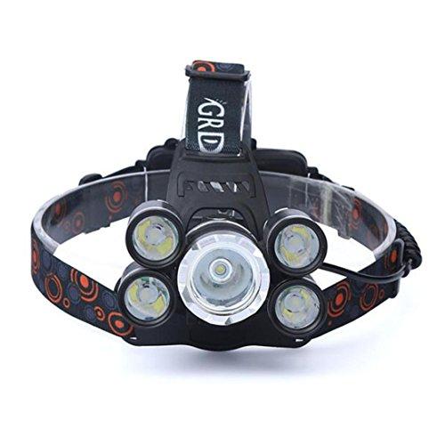 Taschenlampen,35000 LM wiederaufladbare Scheinwerfer 5X CREE XM-L T6 LED Scheinwerfer Reise Kopf Torche by OHQ (Schwarz)