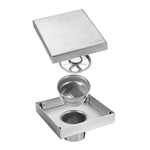 YBWEN Dusche Bodenablauf 304 Edelstahl-Quadrat-Fußboden-Abfluss Dusche Nassraum Home Bad Sieb for Heim Feste Duschköpfe (Farbe : Silver, Size : 10x10cm)