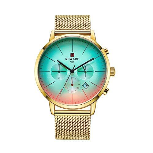 Liery Herren Uhr Für Reward Quarzuhr Herren Mit 6 Zeigern Wasserdichtes Multifunktionales Verschleißfestes Kratzfestes Maschenarmband