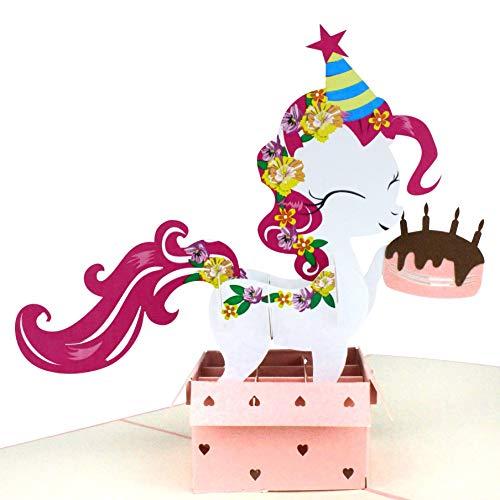 MOKIO® Pop-Up Geburtstagskarte – Happy Birthday Pony mit Geschenk und Torte – 3D Geschenkkarte zum Geburtstag, handgefertigte Klappkarte mit Umschlag, ideal für Geldgeschenke
