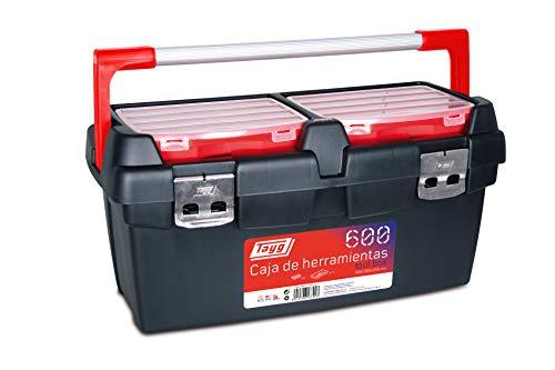 Tayg 167003 Werkzeugkasten aus Kunststoff-Aluminium Nr.600 Werkzeugkoffer 600/600 x 305 x 295 mm/schwarz-rot