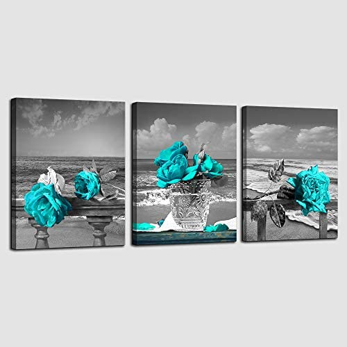Canvas Wall Art for Living Room Simple Life Black and White Rose Flowers Blue Canvas Wall Art product image