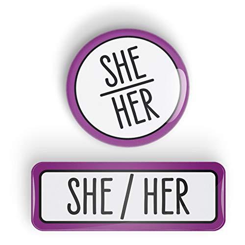 Pronoun SHE/HER pin badge button or fridge magnet, LGBTQ+, LGBT