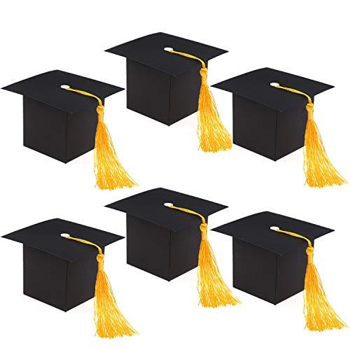 HOWAF 30 Piezas Graduación Regalo Cajas, DIY Manualidades Gorro Cestas para Universitaria o Infantil Graduación 2020, Rellenar Regalos, Chocolate, Caramelos, Juguetes (Sombrero Negro con Borla)
