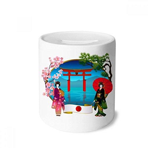 DIYthinker Kimono-Mädchen Japan Kultur Umbrella-Geld-Kasten Sparkassen Keramik Münzfach Kinder Erwachsene 3.5 Zoll in Height, 3.1 Zoll in Duruchmesser Mehrfarbig