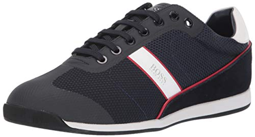 Hugo Boss Men's Akeen Suede Sneaker, Navy/Red/White, 44 Medium US