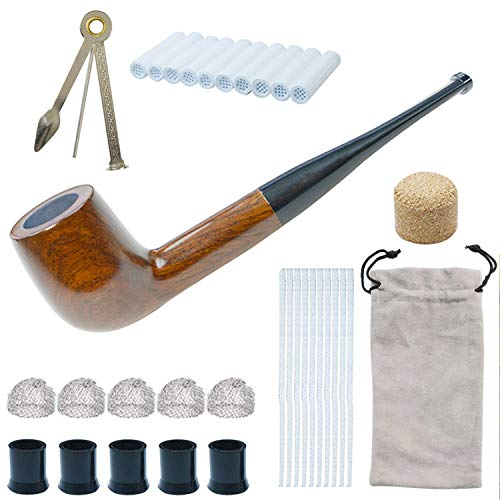 Tobacco Pipe Set, Handmade Wooden Straight Stem Smoking Pipe with Accessories (Filter Elements, Filter Balls, 3 in 1 Scraper, Pipe Cleaners, Bag, Box) (Brown)