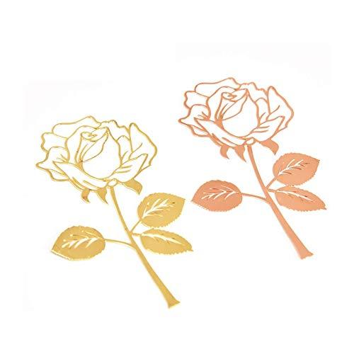 2 Stück Metall Rose Lesezeichen,Einfach Elegant und Dünn Federförmige Lesezeichen,Lesezeichen für Erwachsene und Kinder
