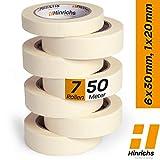 [page_title]-Hinrichs 7 x Kreppband - 6 Rollen 50 m x 30 mm plus 1 Rolle 50 m x 20 mm - Malerkrepp für sauberes Abkleben der Abdeckfolie bei Malerarbeiten