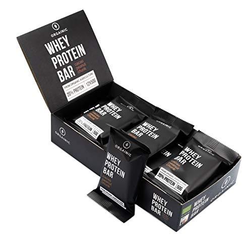 ORGAINIC Bio Whey Protein Bar (12 x 50 g) batonik białka i energii, tylko 6 składników – Made in Germany