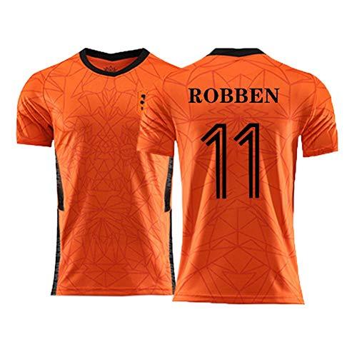 YUUY Arjen Robben # 11 Camiseta de fútbol, Malla, Mangas Cortas Deportivas Transpirables y de Secado rápido, Regalos navideños (Color : Orange, Size : Adult-L)