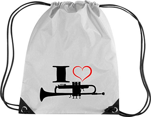 Camiseta stown Premium gymsac Música I Love trompeta, plata