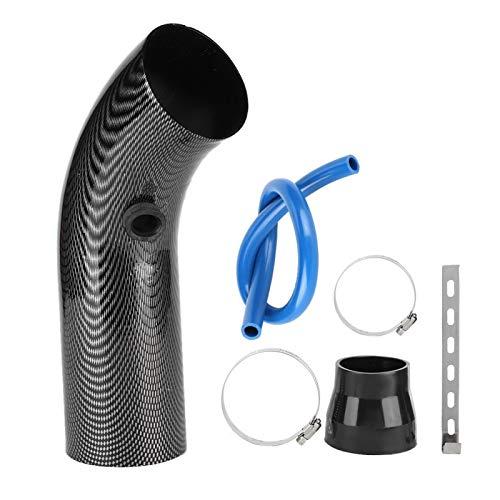 aqxreight - Tubo de entrada de aire, Accesorio de tubo de entrada de aire frío de acero con apariencia de fibra de carbono para coche universal de 75 mm