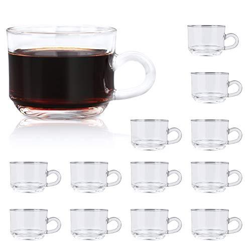 Clear Coffee Mug With Handle 6 oz,QAPPDA Glass Mugs With Handle,Warm Beverage Mugs,Glass Cups Tea Cups Latte Cups Cappuccino Mugs Set of 12 KTZB58