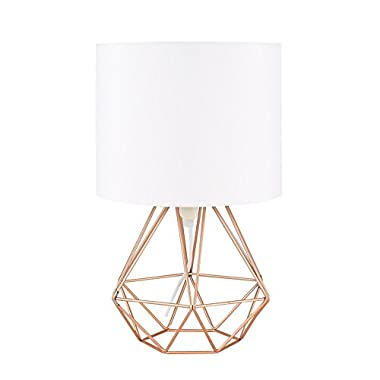 Modern Cage Desk Lamp, Motent Vintage Industrial Wire Cage Base White Fabric Shade Bedside Table Lamp Antique Minimalist Iron Wrought Desk Accent Lamp Nightstand for Bedroom Bar Club - 037 Rose Copper