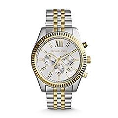 Idea Regalo - Michael Kors Orologio Cronografo Quarzo Uomo con Cinturino in Acciaio Inossidabile MK8344, Bicolore