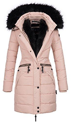 Navahoo Damen Winter Jacke Mantel Parka warm gefütterte Winterjacke B383 (L, Rosa schwarzes Fell)