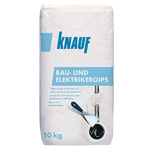 Knauf Bau-Gips / Elektriker-Gips, 10-kg – schnellhärtender, hochfester Montage-Gips zum Setzen und Fixieren von Elektro-Installationen, stoß- und druckfest, gemäß DIN EN 132793