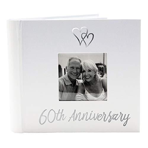Happy Homewares Delizioso Album Fotografico per Il 60° Anniversario di Matrimonio Nozze di Diamante con Decorazione a Doppio Cuore:FBM