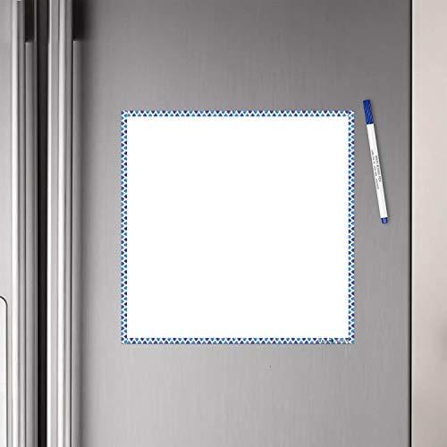 WallDesign Vinyl Blue Waves Border Writing Film Flexible Fridge Magnet (1ft x 1ft, White)